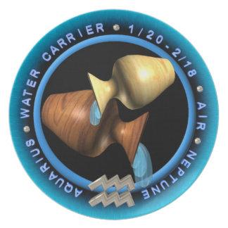 valxart Aquarius zodiac logo Melamine Plate