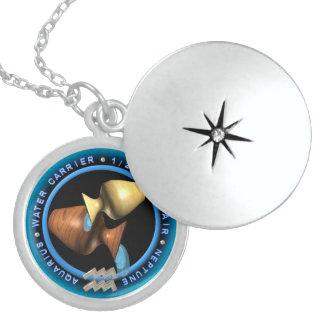 valxart Aquarius zodiac logo Round Locket Necklace