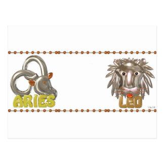 ValxArt Aries Leo zodiac friendship Postcard