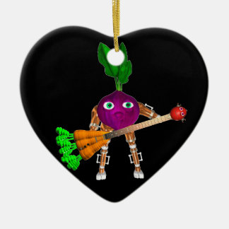 Valxart BeetBot plays a juicy carrot guitar Double-Sided Heart Ceramic Christmas Ornament