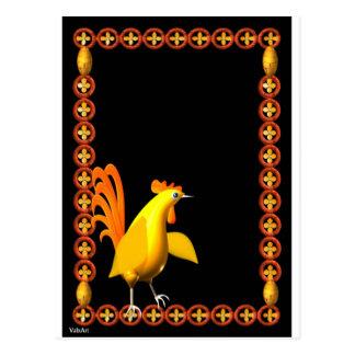 ValxArt.com Yellow chrome rooster plays guitar Postcard