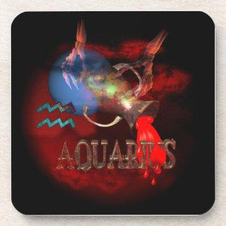 Valxart creepy zodiac born Aquarius Coaster