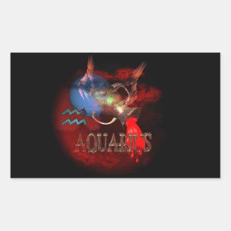 Valxart creepy zodiac born Aquarius Rectangular Sticker
