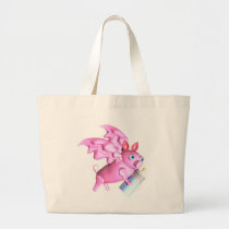 ValxArt flying pink pig with baby bottle bag