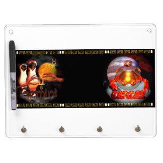 Valxart Gemincer is Gemini Cancer zodiac Cusp Dry Erase Board With Keychain Holder