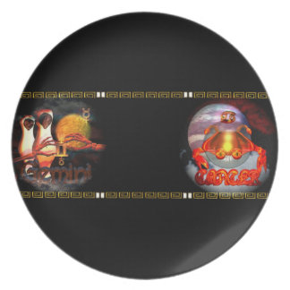 Valxart Gemincer is Gemini Cancer zodiac Cusp Party Plate