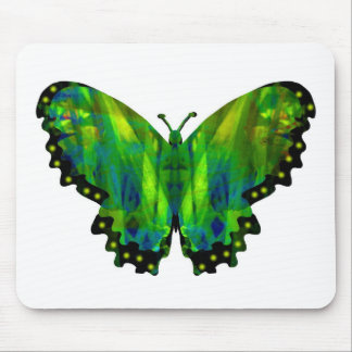 Valxart green abstract butterfly mouse pad