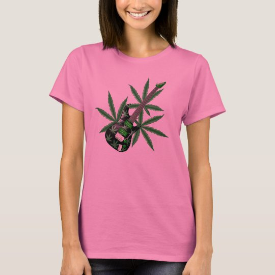 Valxart green cannabis leaves guitar T-Shirt