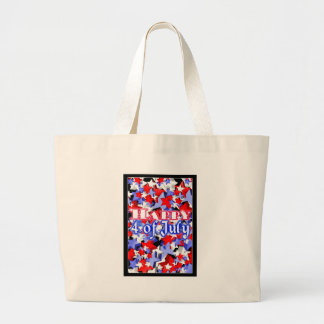 ValxArt Happy 4th July red white and blue stars Canvas Bags