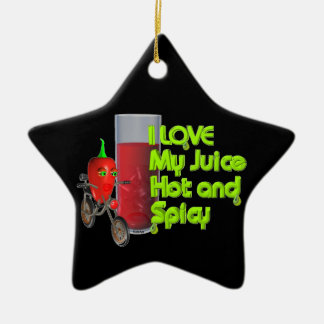 Valxart  I like my juice hot & spicy on 100+ Double-Sided Star Ceramic Christmas Ornament