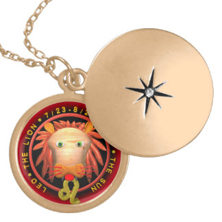 Valxart Leo zodiac logo Round Locket Necklace