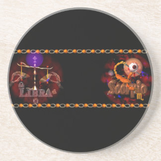 Valxart Libra Scorpio zodiac Cusp or 2 sign Coasters