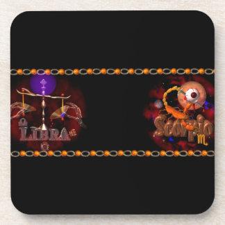 Valxart Libra Scorpio zodiac Cusp or 2 sign Drink Coaster