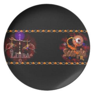 Valxart Libra Scorpio zodiac Cusp or 2 sign Party Plates