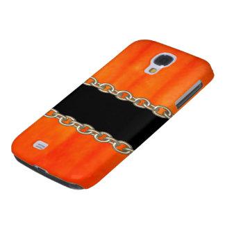 Valxart Orange Pumpkin chain abstract Galaxy S4 Cover