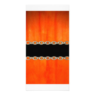 Valxart Orange Pumpkin chain abstract Picture Card