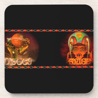 Valxart Pisces Aries zodiac Cusp or 2 sign Beverage Coasters
