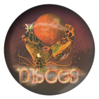 Valxart Pisces creepy zodiac astrology horoscope Dinner Plate