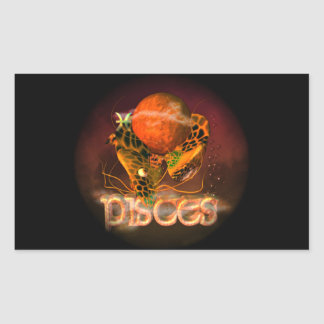 Valxart Pisces creepy zodiac astrology horoscope Rectangular Stickers