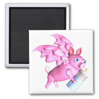 ValxArt que vuela el cerdo rosado con el biberón Imán Cuadrado
