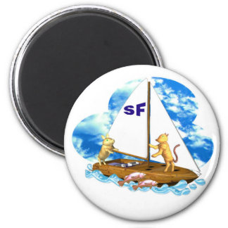 Valxart sails the bay of San Francisco with fishes 2 Inch Round Magnet