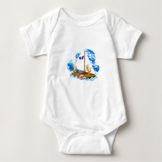 Valxart sails the bay of San Francisco with fishes Baby Bodysuit