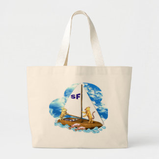 Valxart sails the bay of San Francisco with fishes Jumbo Tote Bag