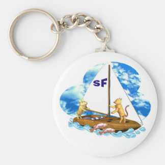 Valxart sails the bay of San Francisco with fishes Basic Round Button Keychain