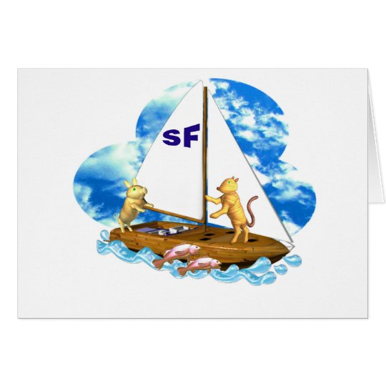 Valxart sails the bay of San Francisco with fishes Card