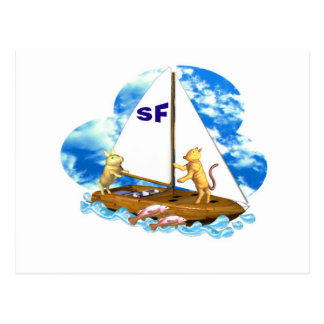 Valxart sails the bay of San Francisco with fishes Postcard