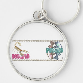 Valxart Scorpio Pisces zodiac friendship Silver-Colored Round Keychain