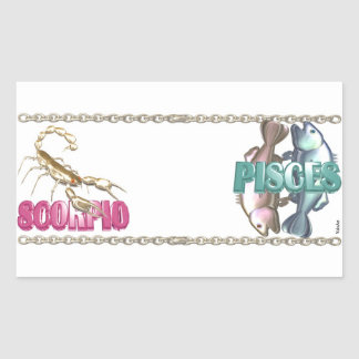 Valxart Scorpio Pisces zodiac friendship Rectangular Stickers