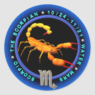 Valxart Scorpio zodiac logo Round Stickers