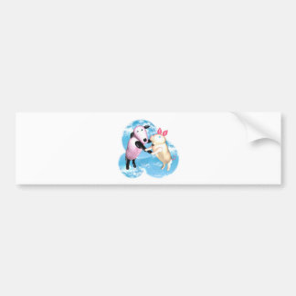 Valxart sheep and pig dance in the barnyard car bumper sticker
