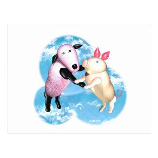 Valxart sheep and pig dance in the barnyard postcard
