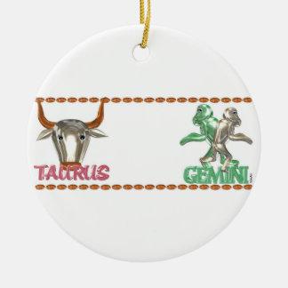 Valxart Taurus Gemini zodiac astrology friendship Ceramic Ornament