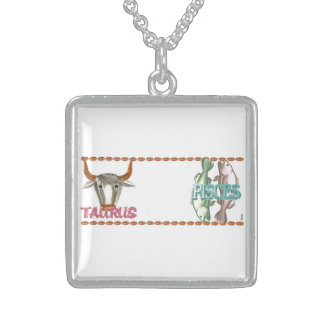 Valxart Taurus Pisces zodiac astrology friendship Sterling Silver Necklace