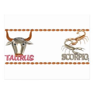 Valxart Taurus Scorpio zodiac friendship designs Postcard