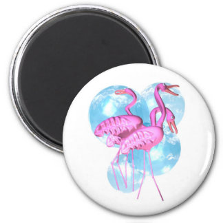 Valxart Three Pink flamingo stand in water 2 Inch Round Magnet