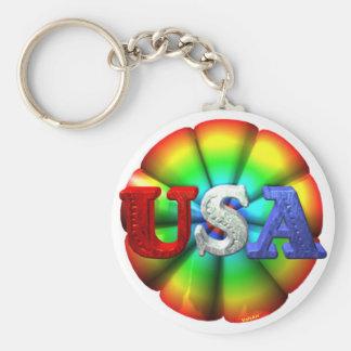 ValxArt USA red,white and blue Rainbow Keychain