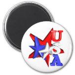Valxart USA red white and blue stars design on Fridge Magnet