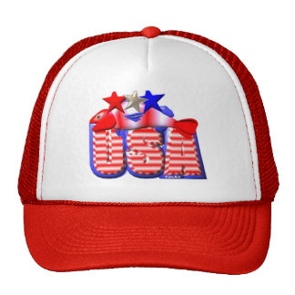 Valxart USA STAR RED,WHITE AND BLUE FISH Trucker Hat