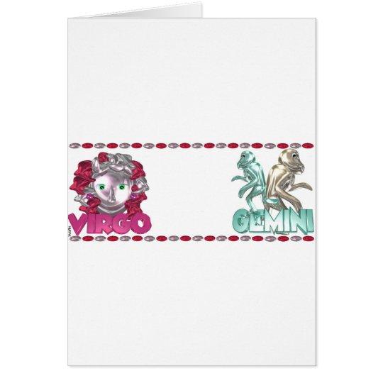 Valxart Virgo Gemini zodiac friendship gift Card