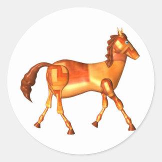 Valxart wood horse zodiac design classic round sticker
