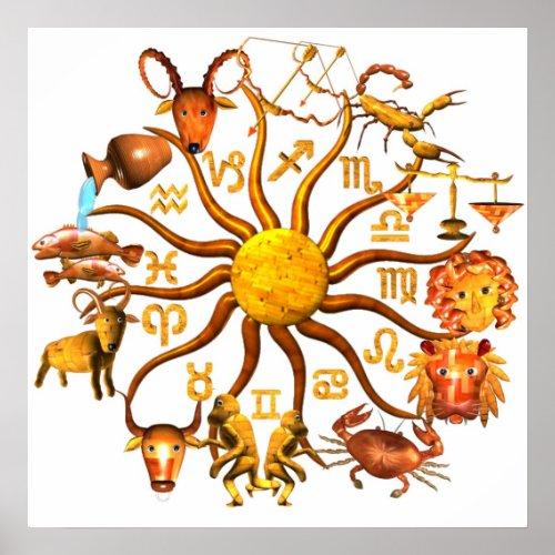 ValxArt wood zodiac wheel of life poster print