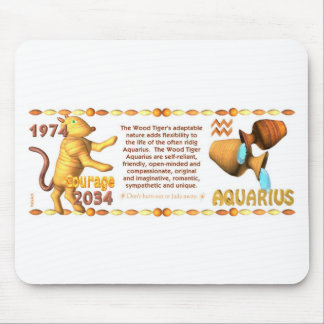 ValxArt Zodiac Aquarius wood tiger 1974 2034 Mouse Pad