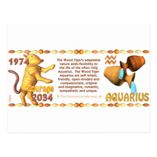 ValxArt Zodiac Aquarius wood tiger 1974 2034 Postcard