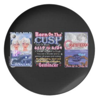 Valxart zodiac Cusp born Gemine Cancer Dinner Plates