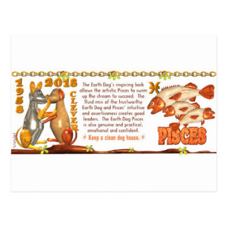 ValxArt Zodiac Earth Dog Pisces born 1958 2018 Postcard