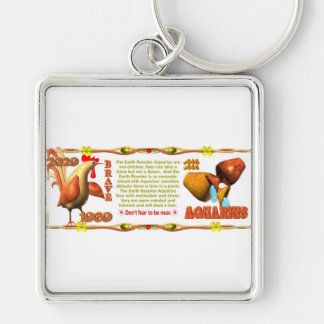 Valxart zodiac earth rooster born Aquarius 1969 Key Chains